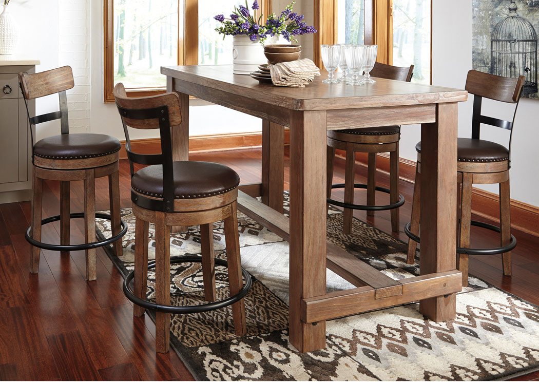 Pinnadel Rectangular Counter Table w/4 Upholstered Swivel Stools,Signature Design By Ashley