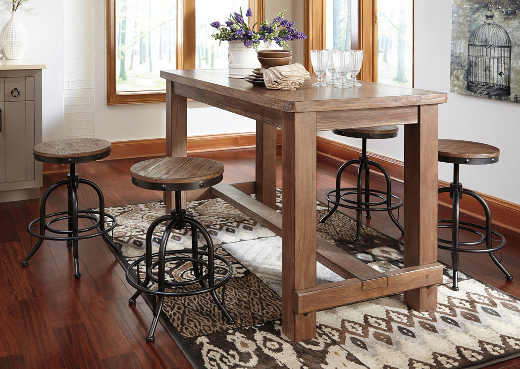 Pinnadel Rectangular Counter Table w/ 4 Swivel Stools Stools,Signature Design By Ashley