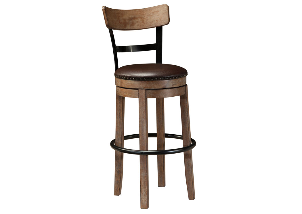 Pinnadel Light Brown Tall Upholstered Swivel Barstool,Signature Design By Ashley
