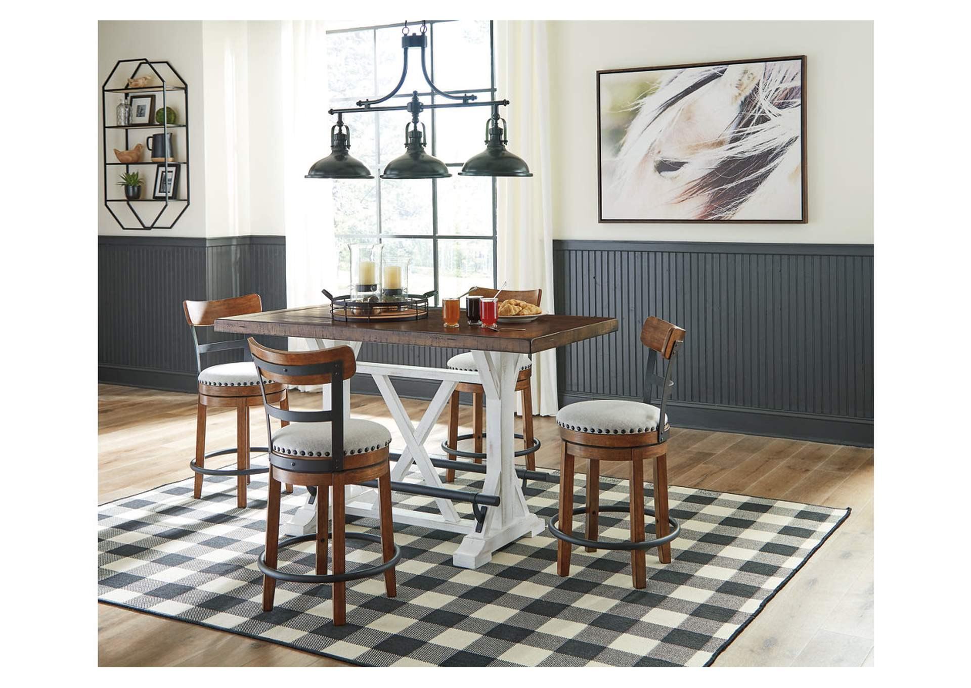 Valebeck Brown Counter Height Dining Table w/4 Backed Brown Barstools,Signature Design By Ashley