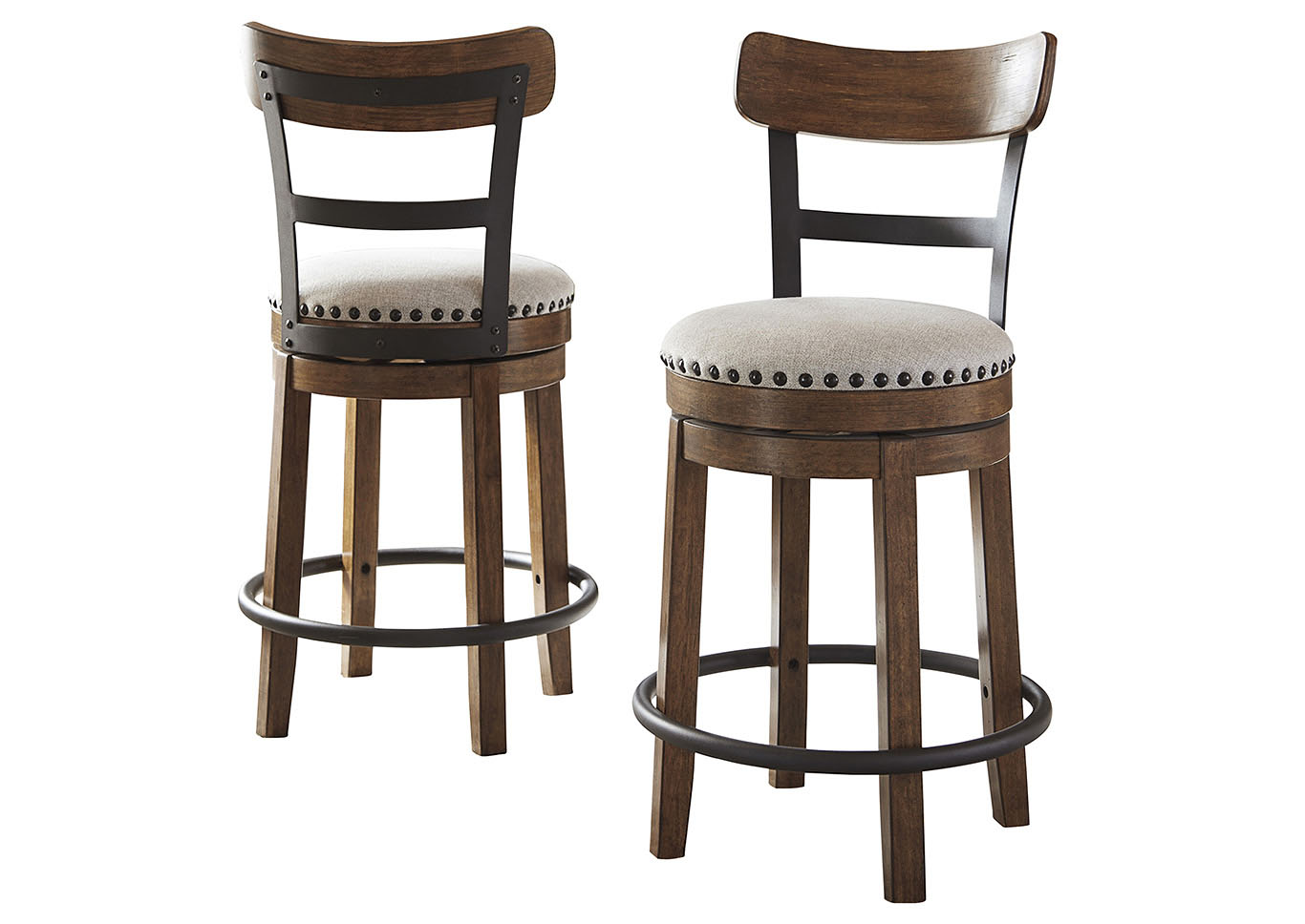 Valebeck Brown Upholstered Swivel Bar Stool,Signature Design By Ashley