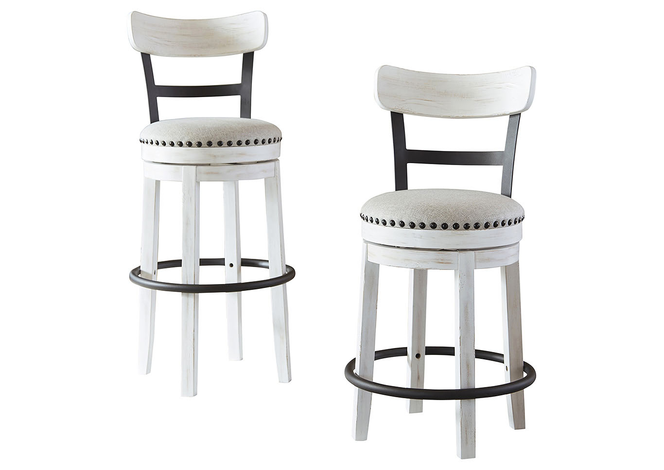 Valebeck White Upholstered Swivel Bar Stool,Signature Design By Ashley
