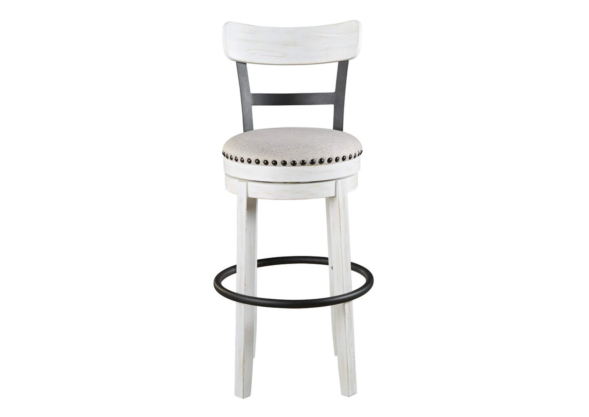 Valebeck White Tall Upholstered Swivel Bar Stool,Signature Design By Ashley