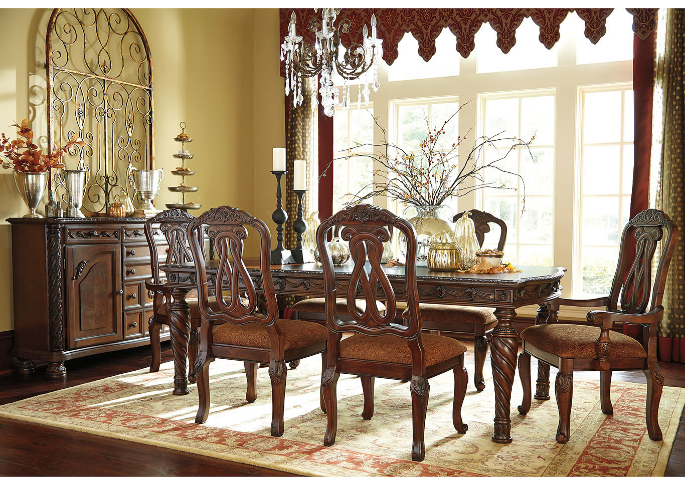 North Shore Dark Brown Rectangular Dining Table w/4 Side Chairs & 2 Arm Chairs,Millennium