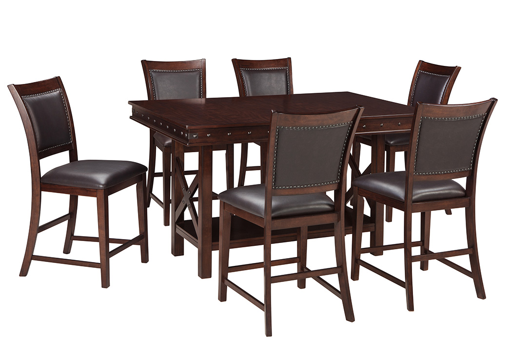 Collenburg Dark Brown Rectangular Dining Room Counter Extension Table w/4 Upholstered Barstools,Signature Design By Ashley