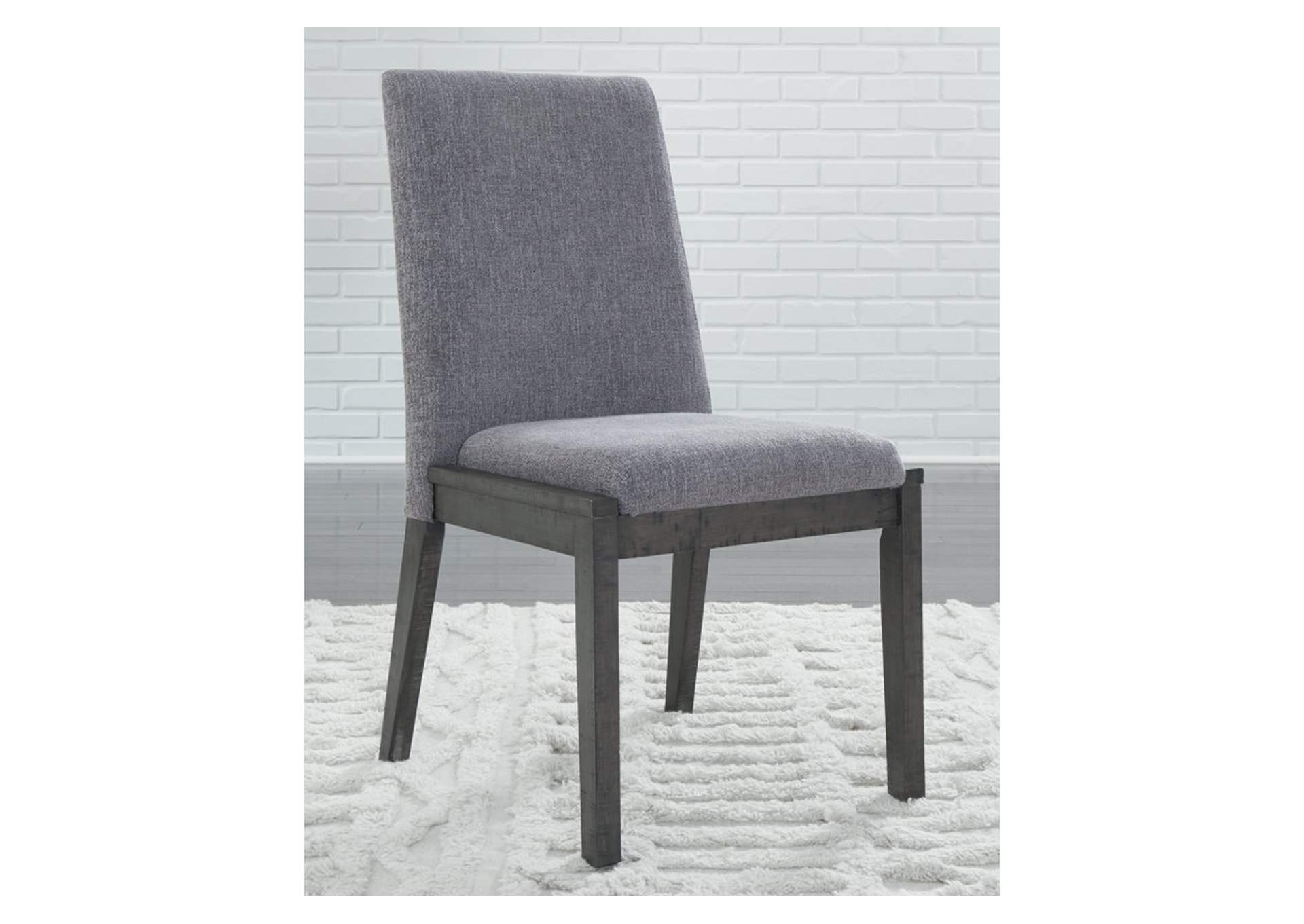 Besteneer Dark Gray Upholstered Dining Side Chair (2/CN),Signature Design By Ashley