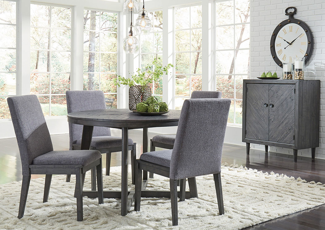 Besteneer Dark Gray Round Dining Table w/4 Side Chairs,Signature Design By Ashley