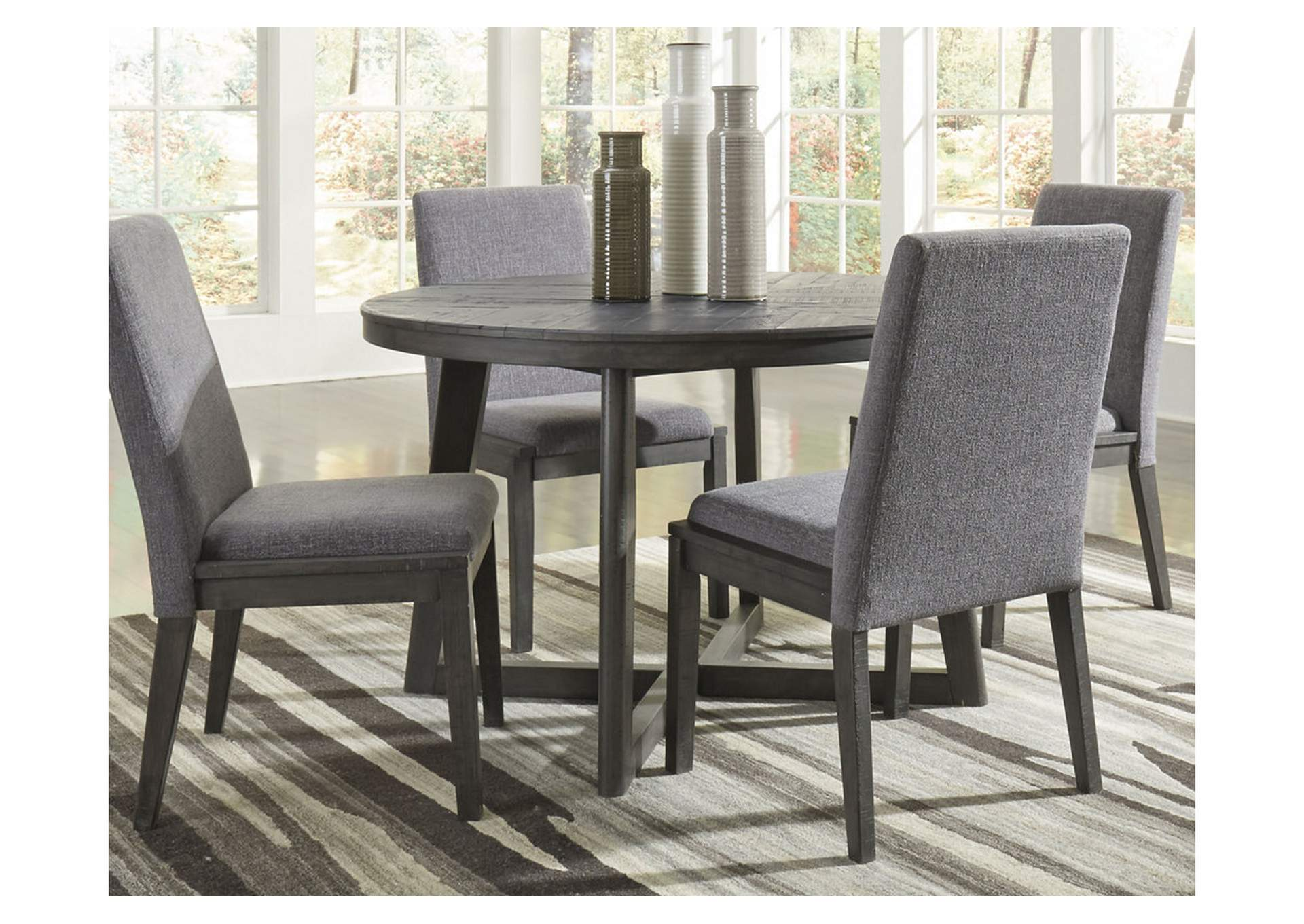 Besteneer Dark Gray Round Dining Room Table,Signature Design By Ashley