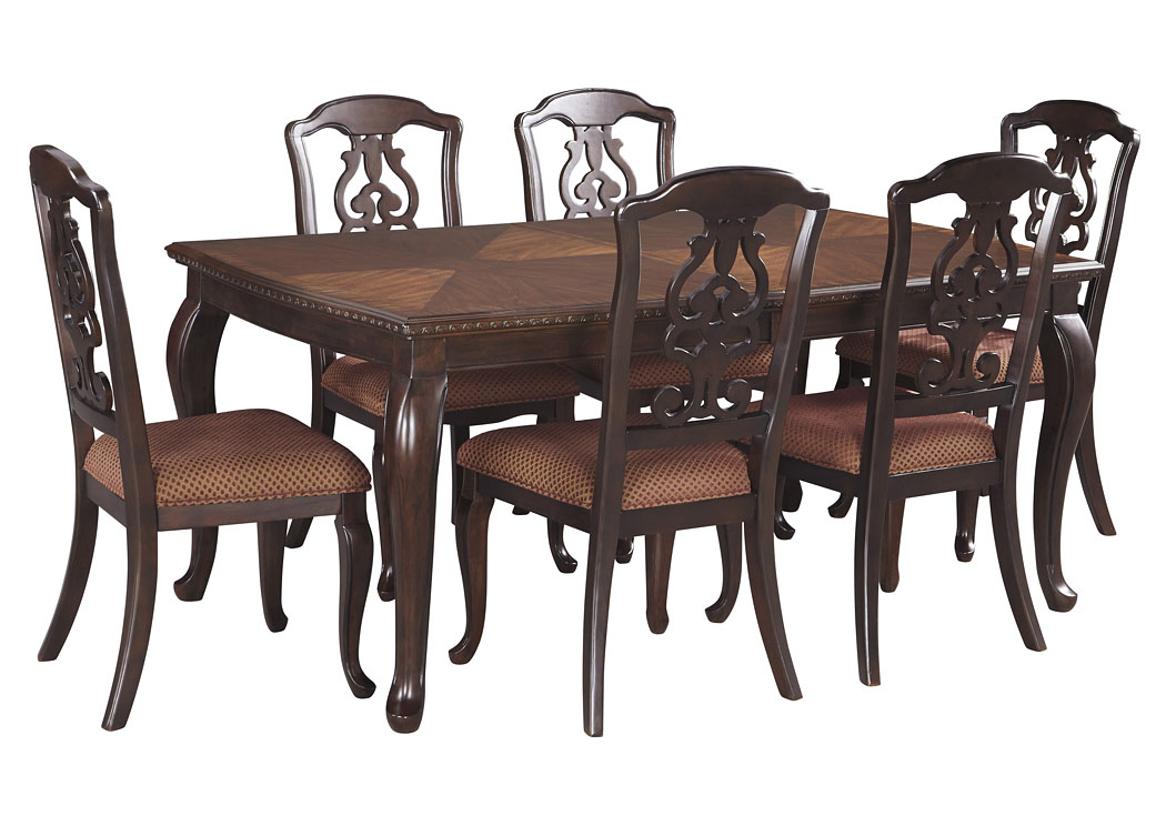 Gladdenville Brown Rectangular Dining Room Extension Table w/6 Side Chairs,Signature Design By Ashley