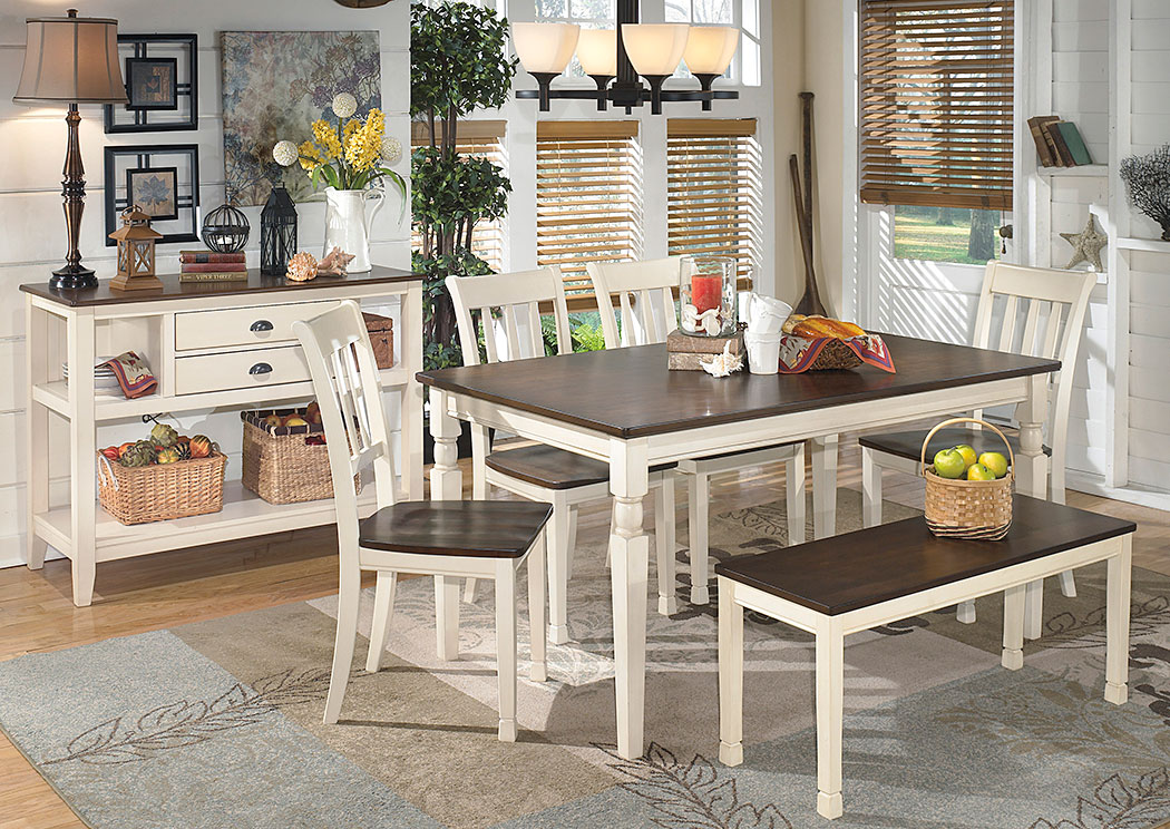 Whitesburg Rectangular Dining Table w/ 4 Side Chairs & Bench,Signature Design By Ashley