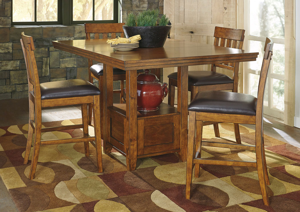 Ralene Rectangular Counter Height Extension Table w/ 4 Bar Stools,Signature Design By Ashley