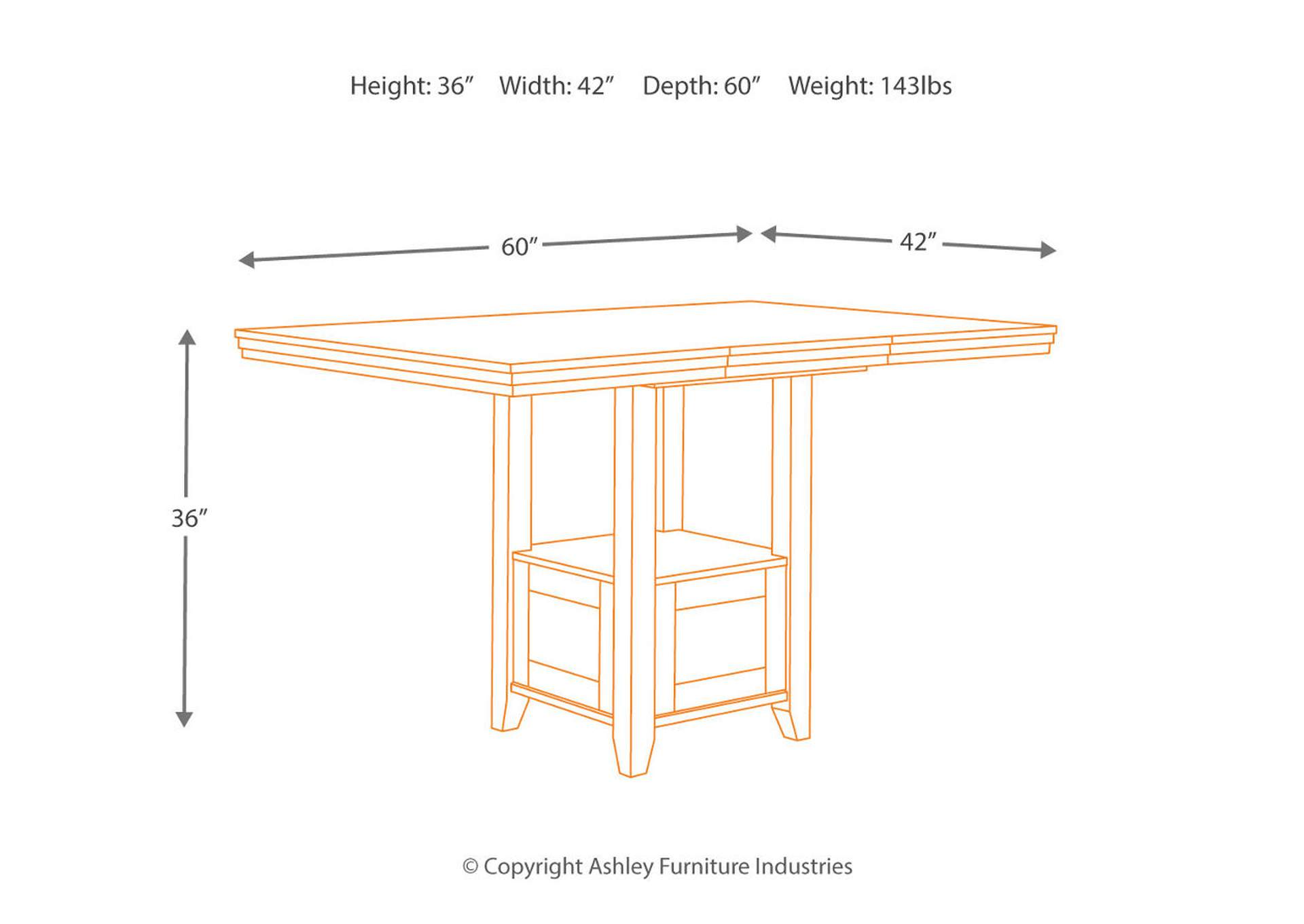 Ralene Rectangular Counter Height Extension Table,Signature Design By Ashley