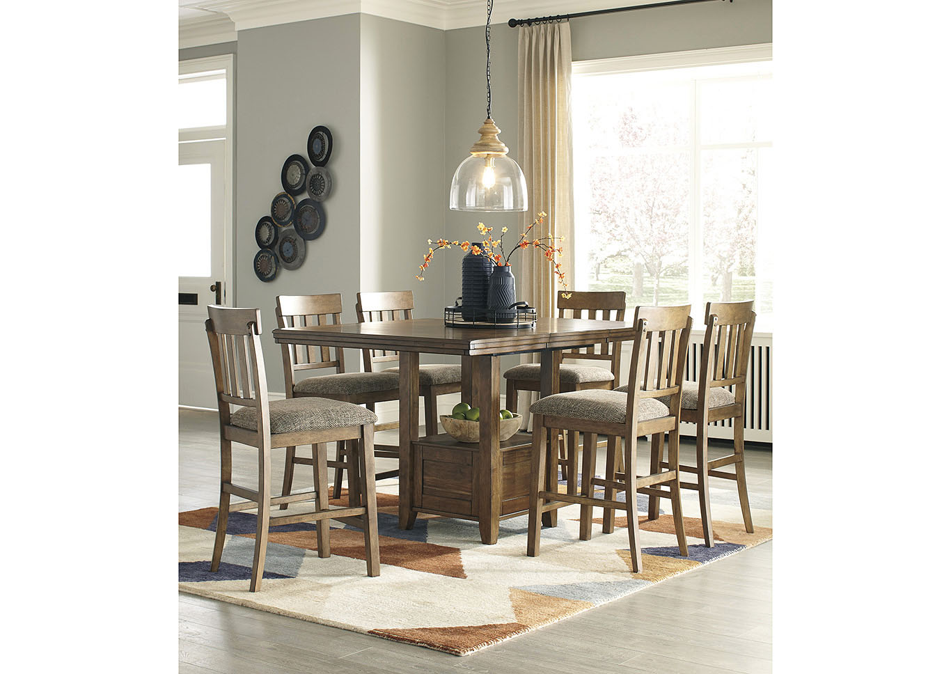 Flaybern Light Brown Extension Dining Table W 6 Side ChairsBenchcraft