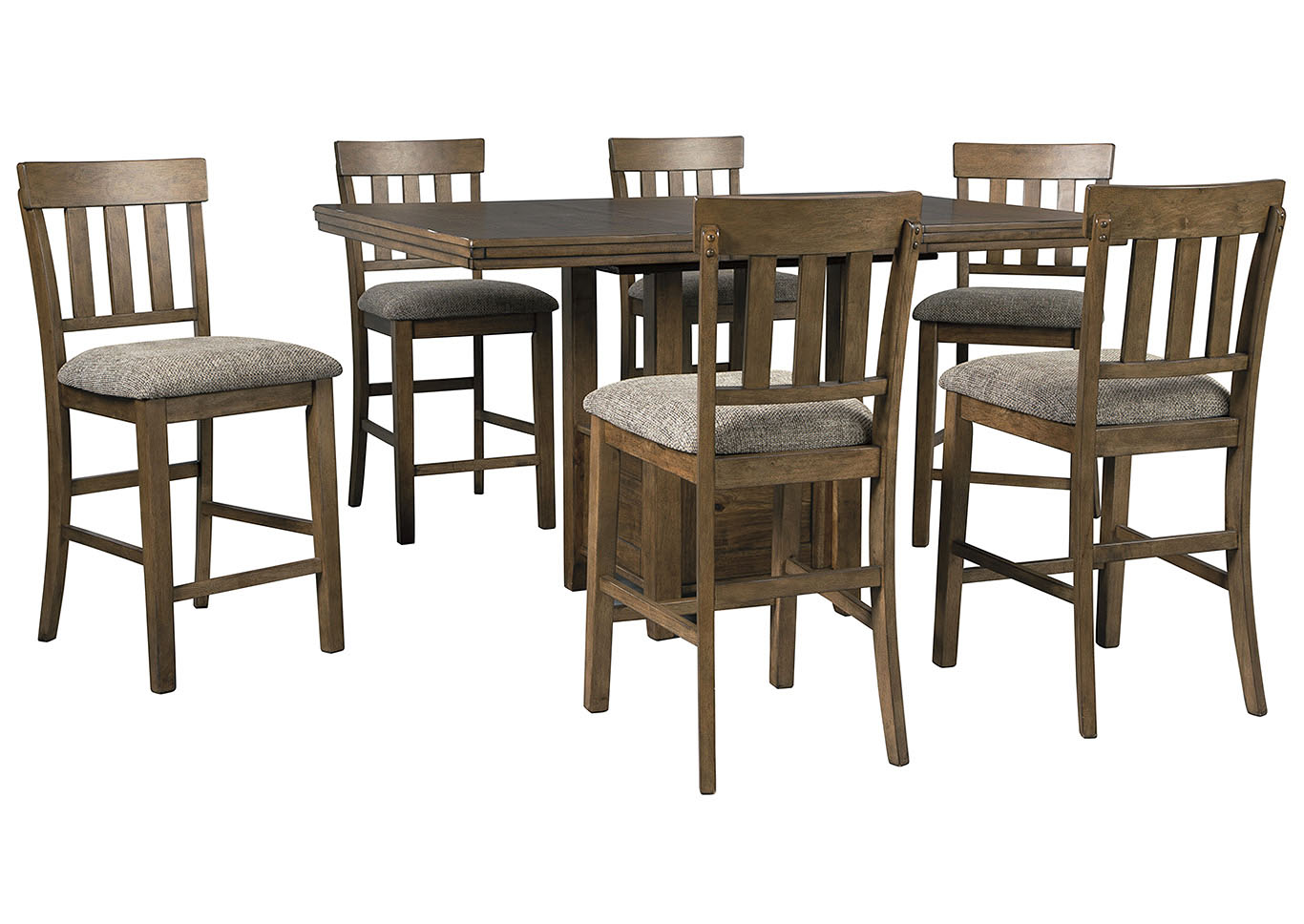 Flaybern Brown Counter Height Table w/6 Bar Stools,Benchcraft