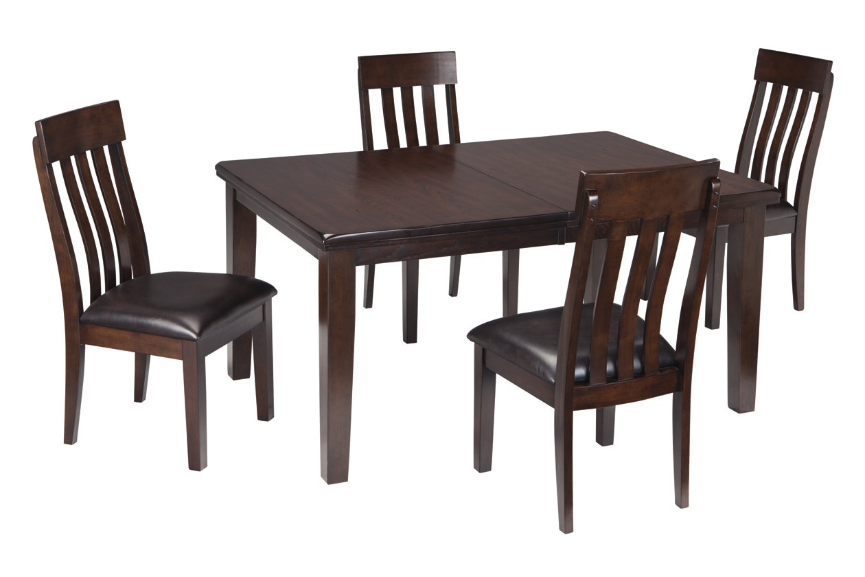Haddigan Dark Brown Rectangle Dining Room Extension Table w/ 4 Upholstered Side Chairs,Signature Design By Ashley