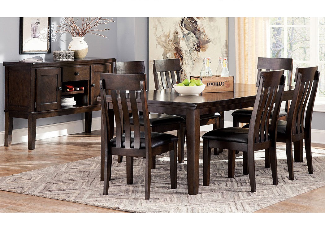 Haddigan Dark Brown Rectangle Dining Room Extension Table w/6 Upholstered Side Chairs & Server,Signature Design By Ashley