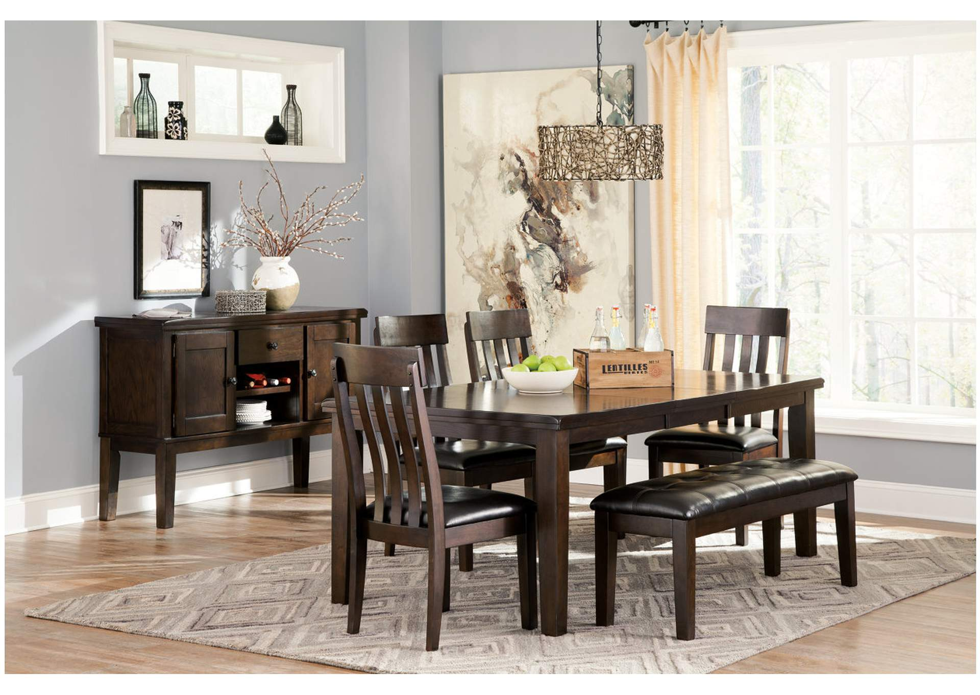 Haddigan Dark Brown Large Upholstered Dining Room Bench,Signature Design By Ashley