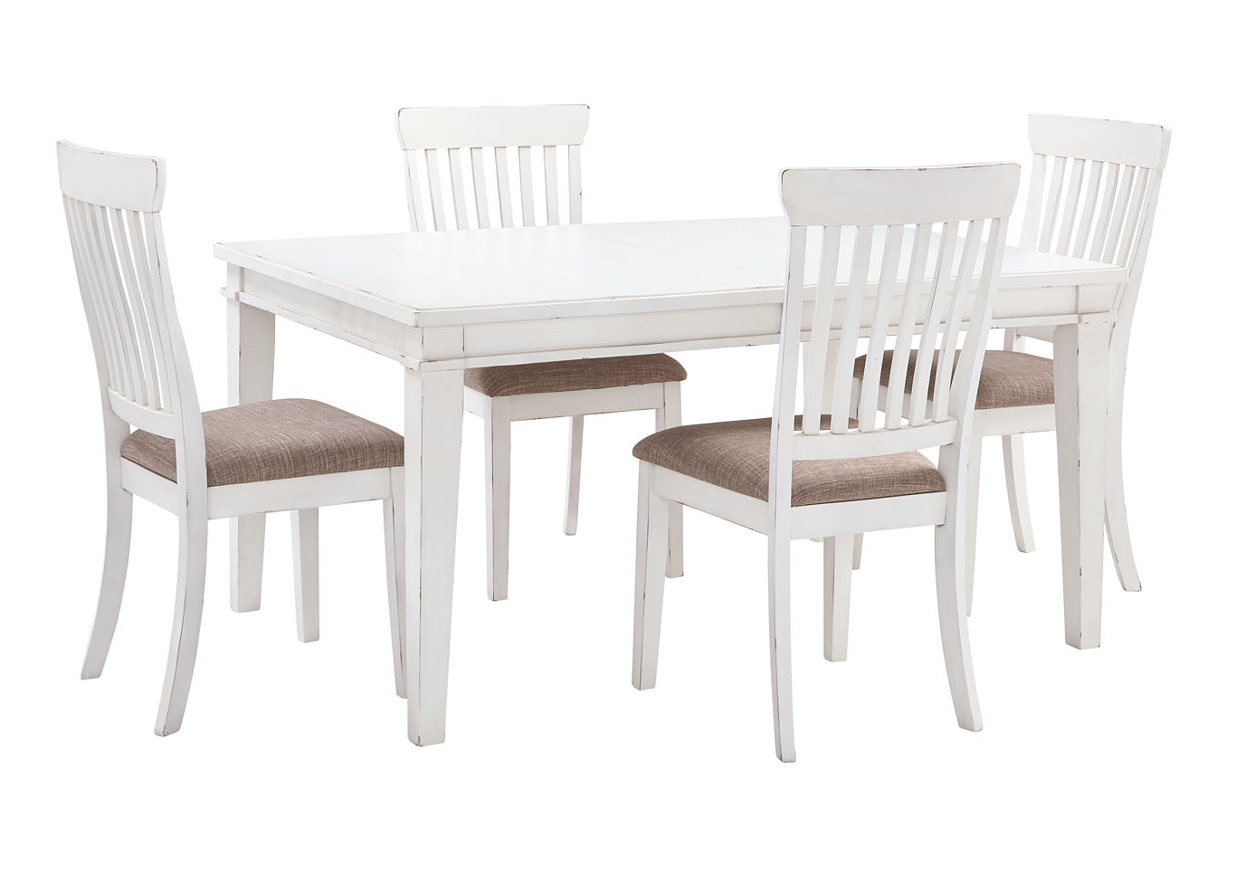 Danbeck White Dining Table Set w/Dining Table and 4 Side Chairs,Signature Design By Ashley
