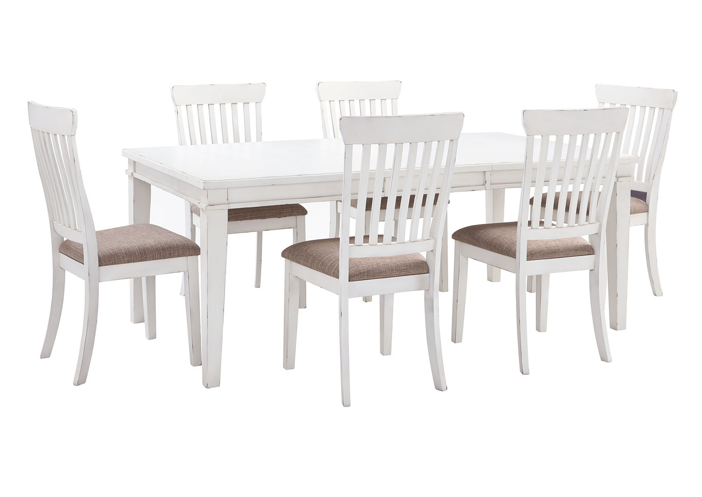 Danbeck White Dining Table Set W And 6 Side ChairsSignature Design