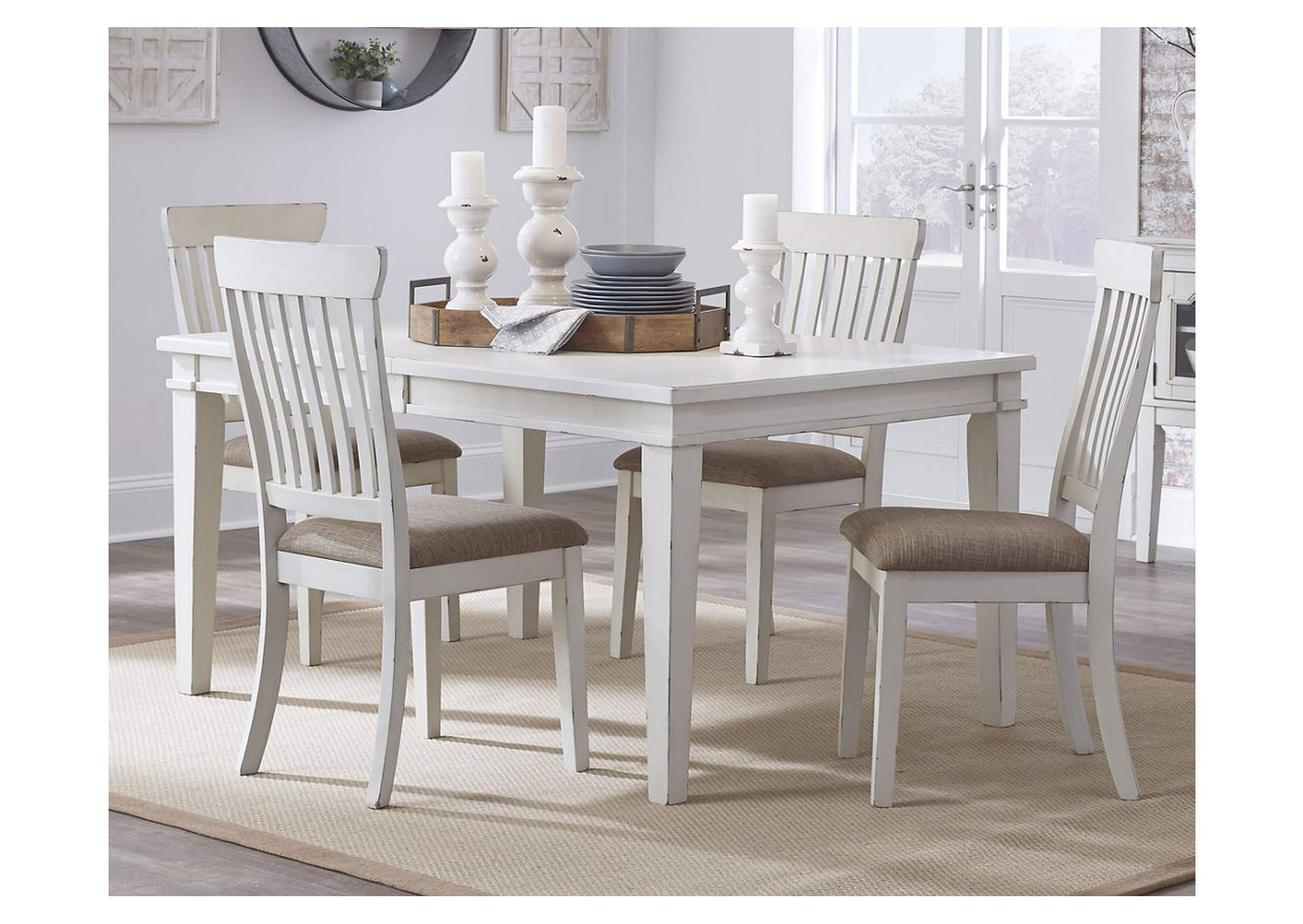 Danbeck White Rectangular Dining Room Extension Table w/18