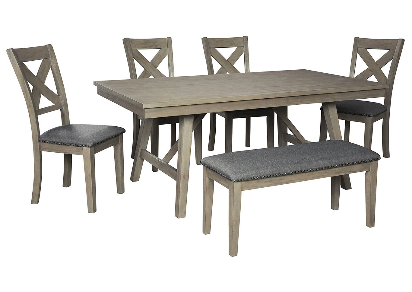 Aldwin Gray Dining Table W 4 Side Chairs Bench Jarons