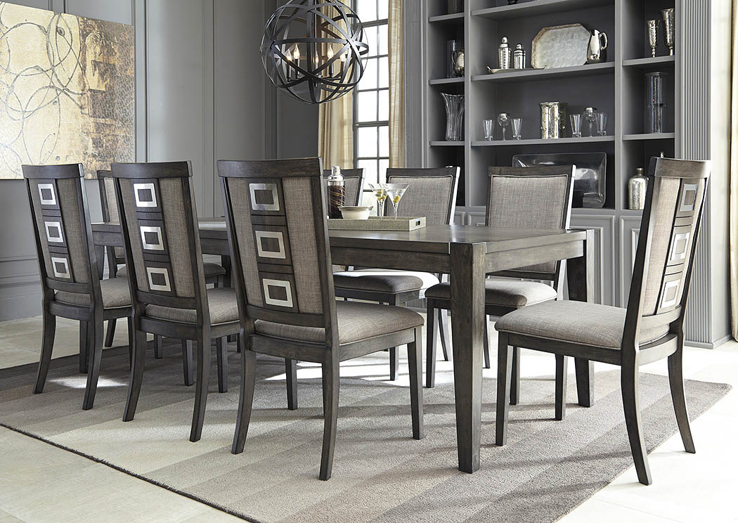 Furniture more galleries chadoni gray rectangular dining for Dining room 8 chairs