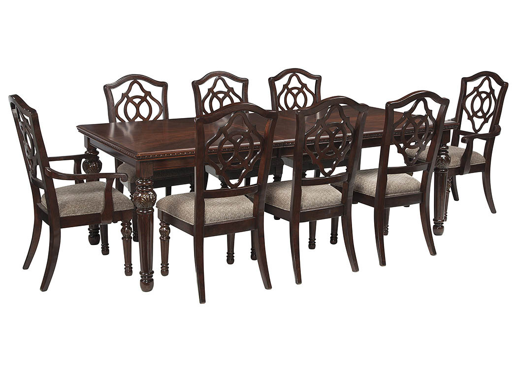 Leahlyn Reddish Brown Rectangular Dining Room Extension Table W 2 Arm Chair And 6 Side