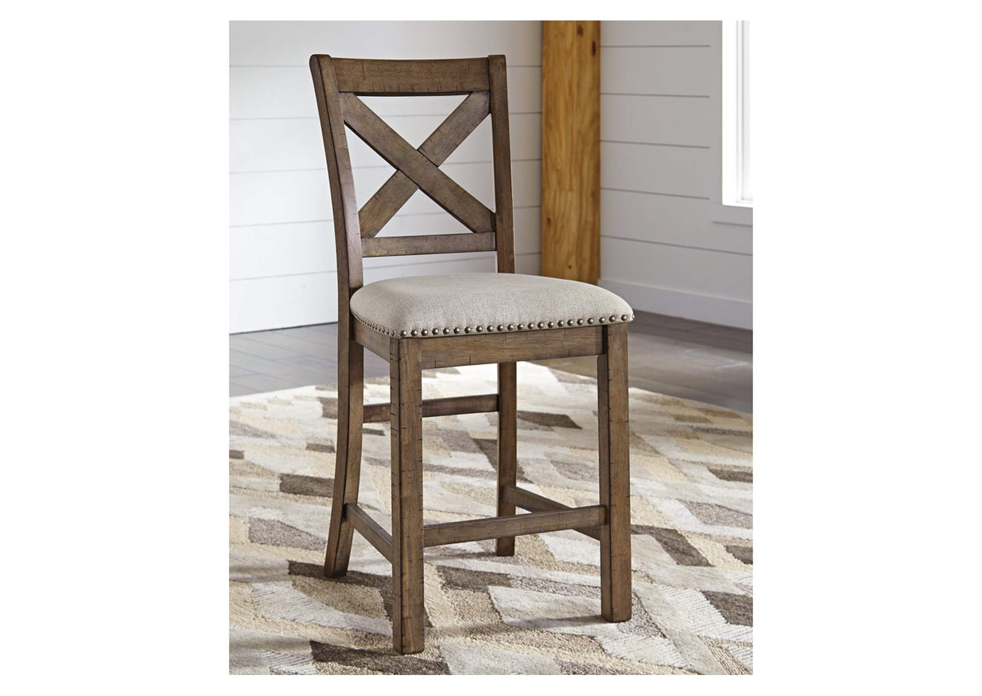 Moriville Gray Upholstered Barstool (Set of 2),Signature Design By Ashley