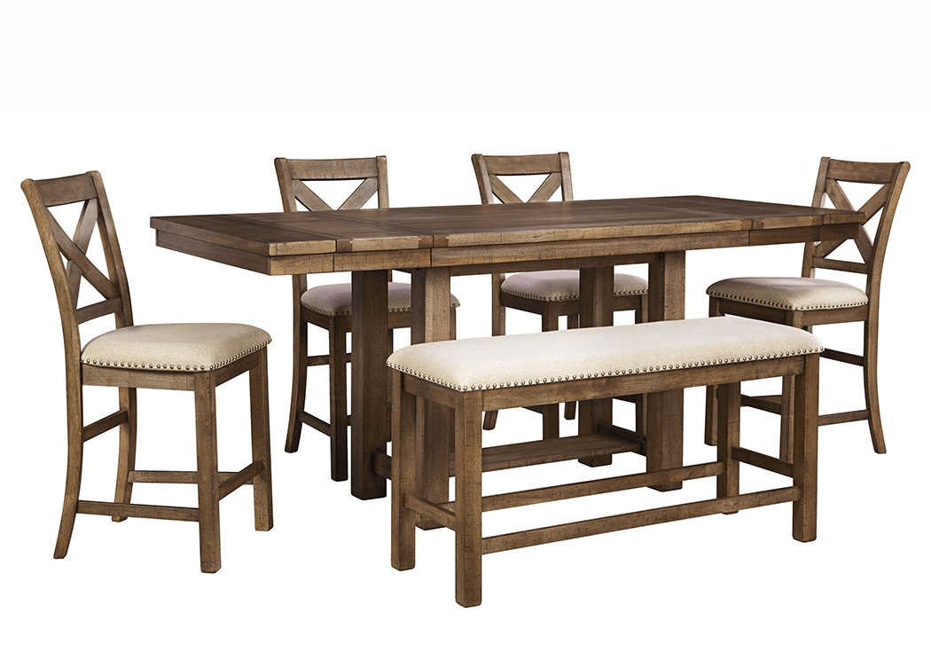 Moriville Gray Rectangular Dining Room Counter Extension Table W Bench And 4 Upholstered Barstools