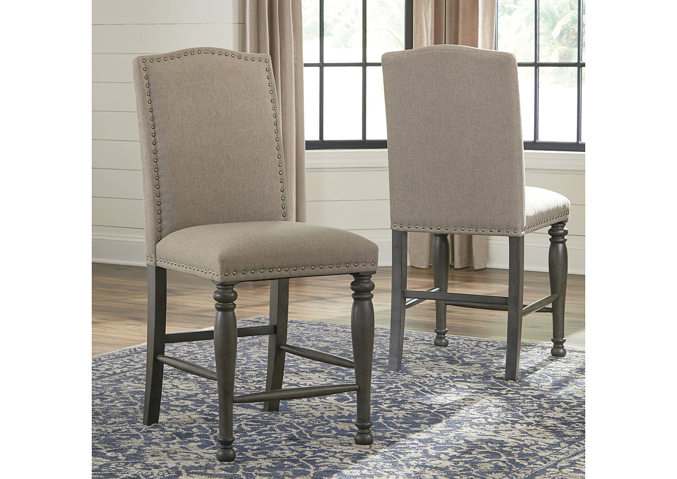 Audberry Tan Upholstered Bar Stool (Set of 2),Signature Design By Ashley