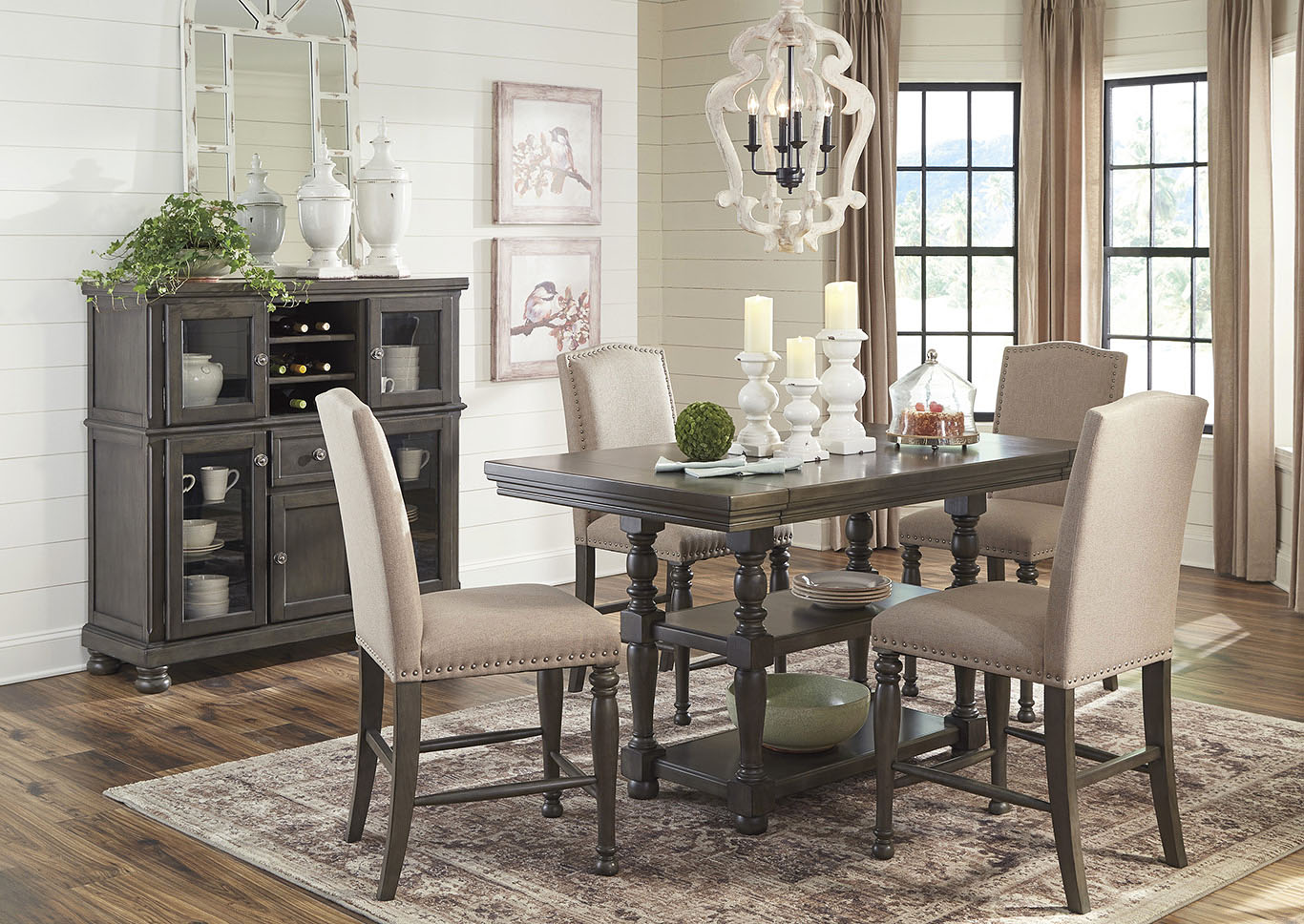 Audberry Dining Set w/4 Bar Stools,Signature Design By Ashley