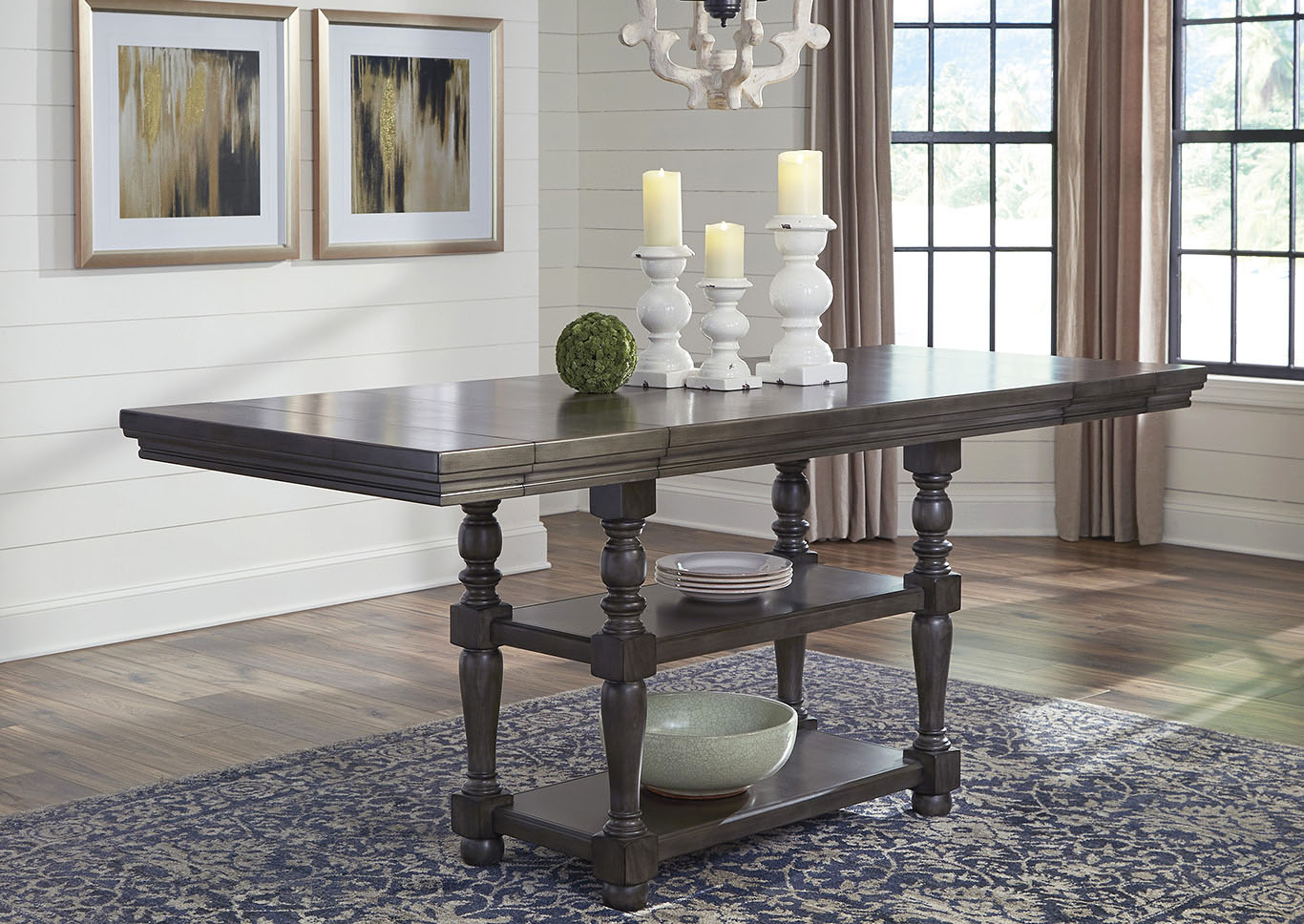 Audberry Dark Gray Rectangular Counter Extended Table,Signature Design By Ashley