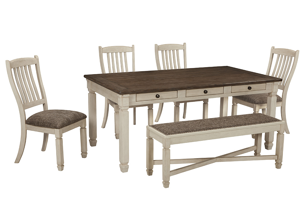 Bolanburg Antique White Rectangular Dining Room Table W Bench And 4 Upholstered Side Chairs