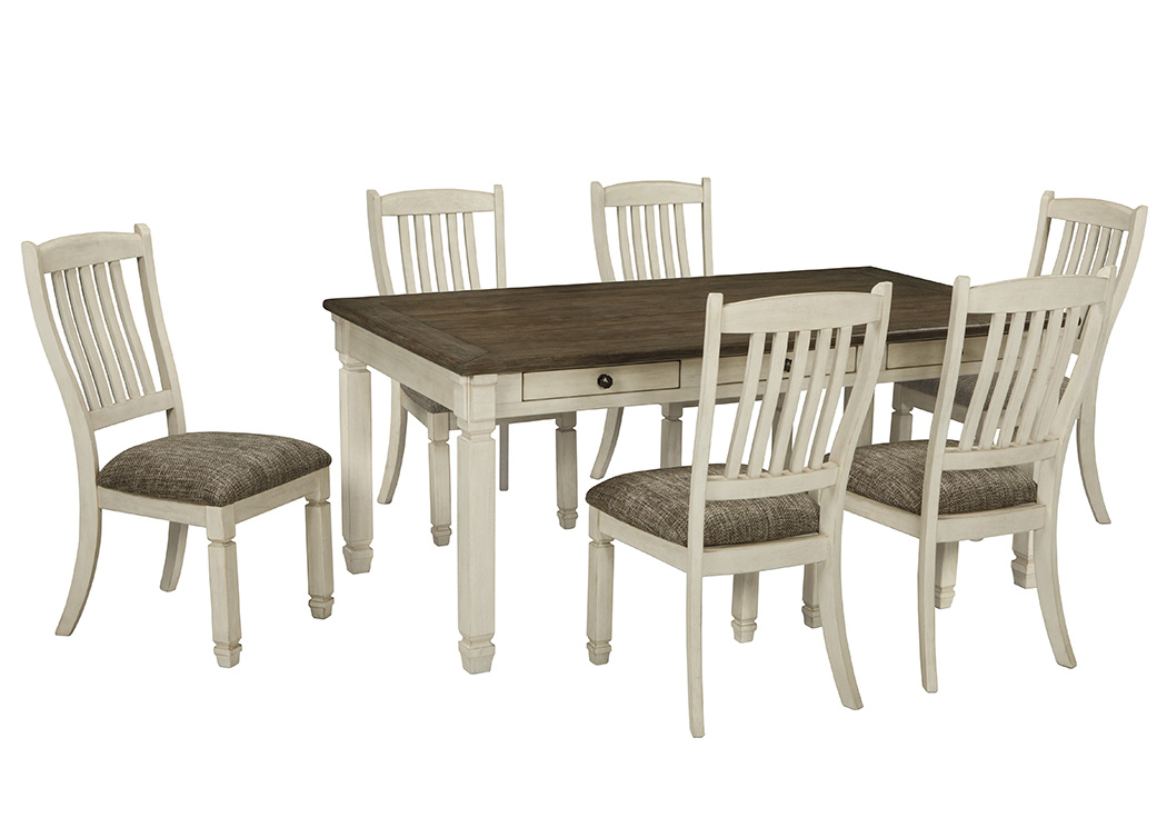 Kensington furniture bolanburg antique white rectangular for White dining table and 6 chairs