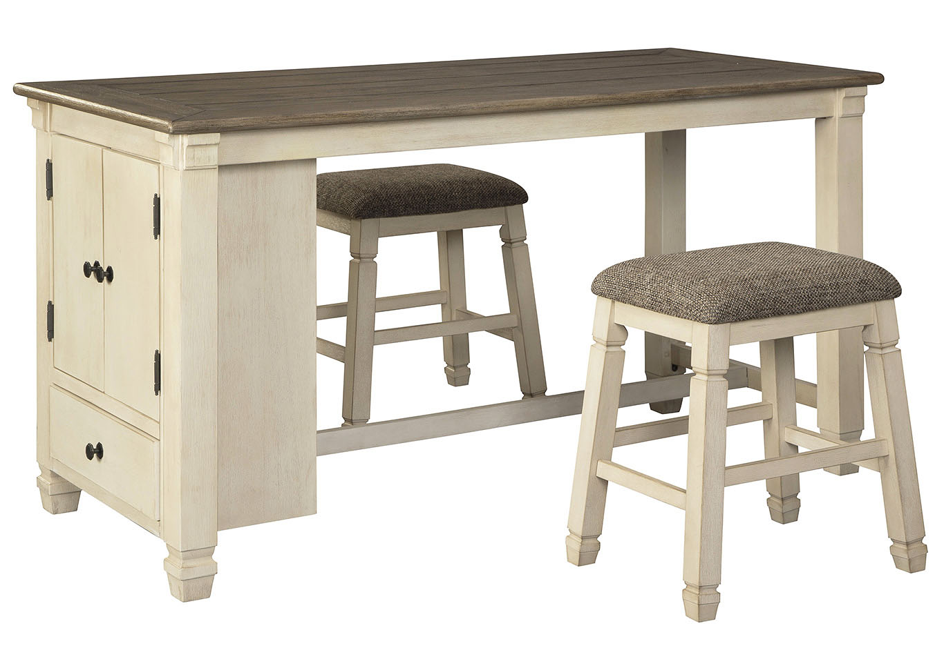 Bolanburg Antique White Rectangular Dining Table w/2 Upholstered Stools,Signature Design By Ashley