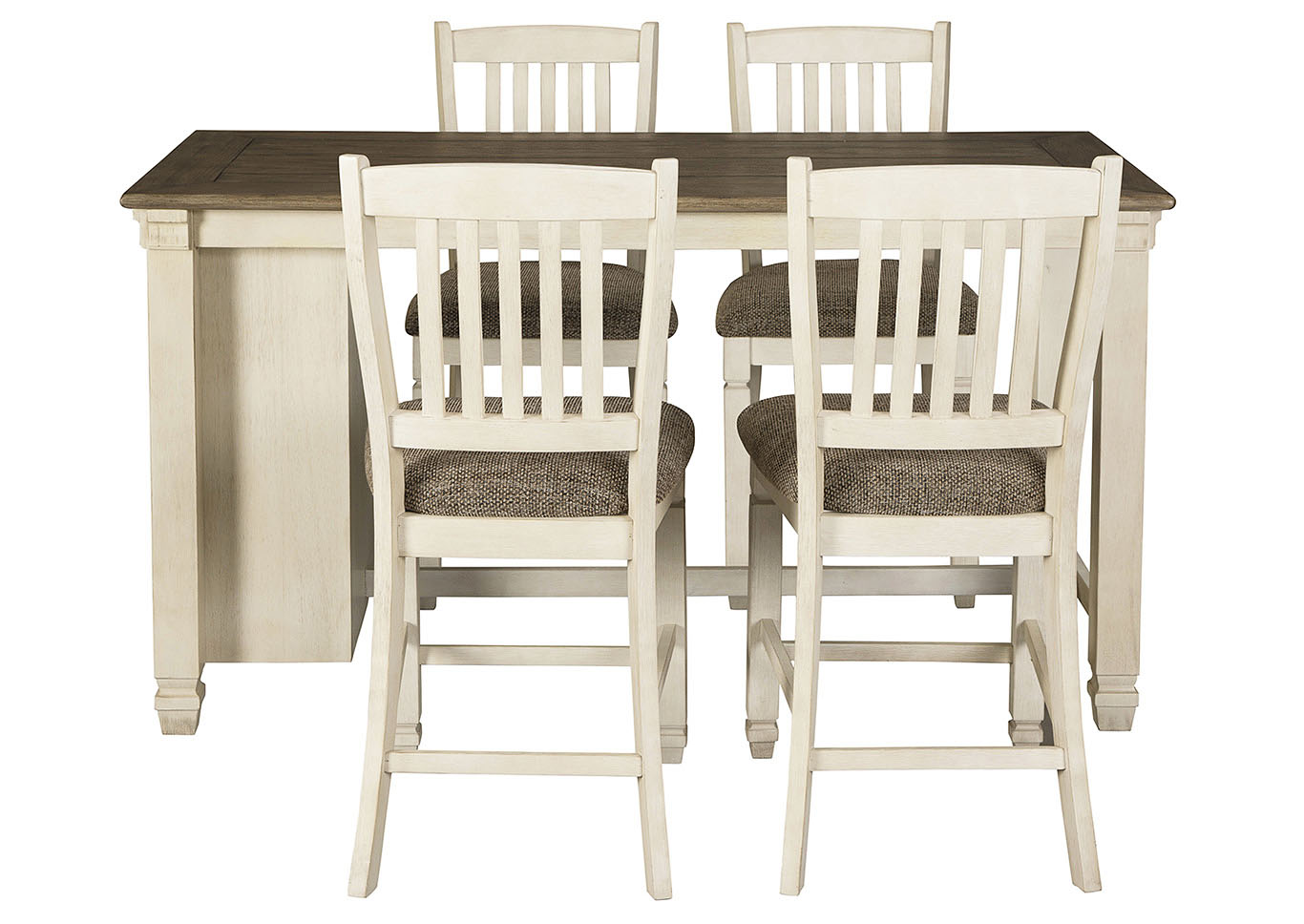 Bolanburg Antique White Rectangular Dining Table w/4 Upholstered Chairs,Signature Design By Ashley