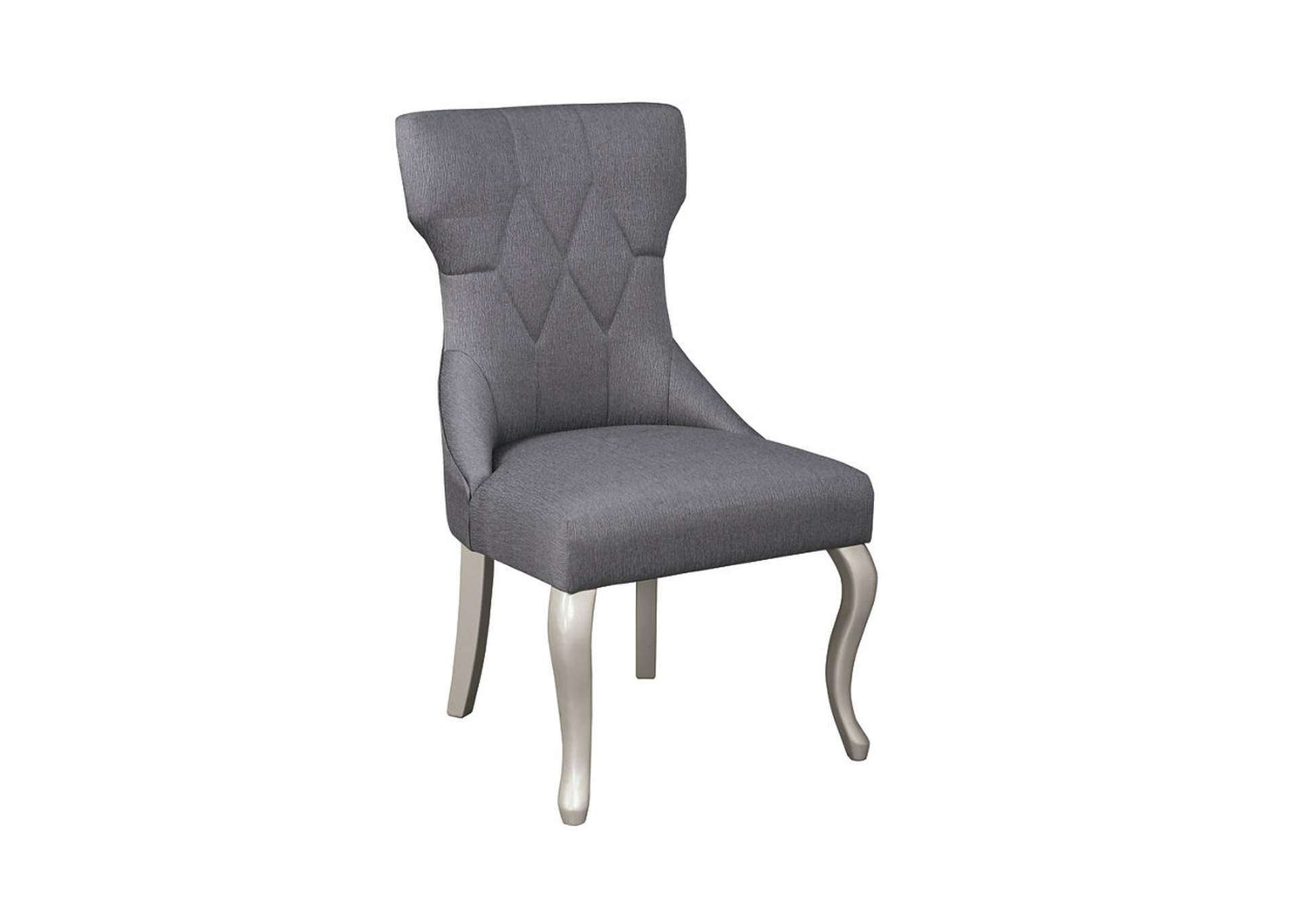 Coralayne Silver Finish Dining Upholstered Side Chair (Set of 2),Signature Design By Ashley