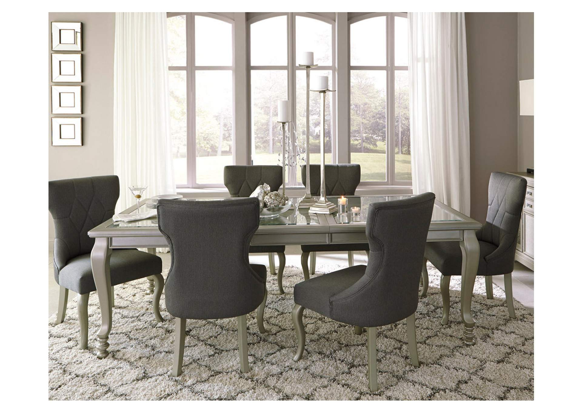 Coralayne Silver Finish Rectangular Dining Room Extension Table,Signature Design By Ashley