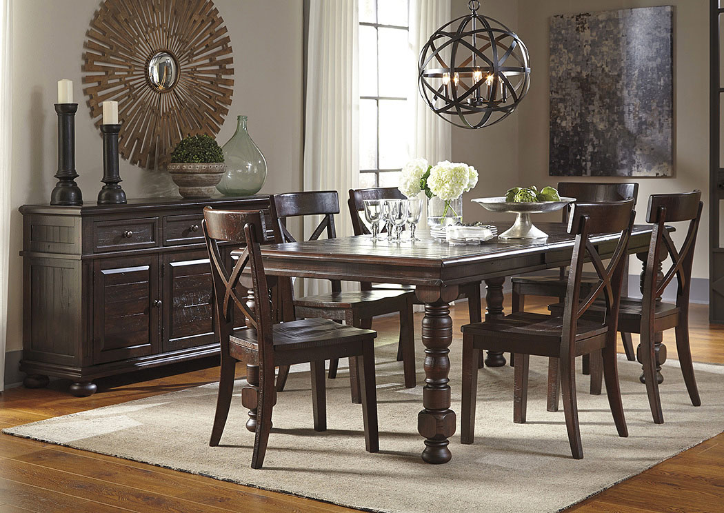 Superieur Gerlane Dark Brown Rectangular Dining Room Extension Table W/ Server And 6  Side Chairs,