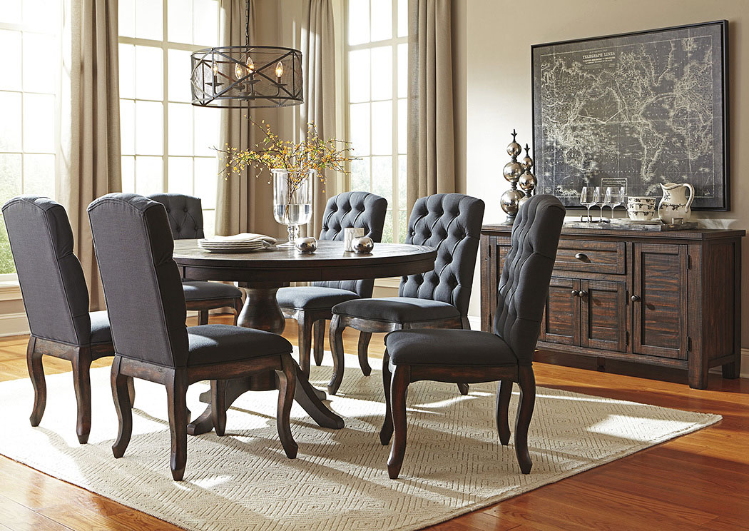 Trudell Golden Brown Round Dining Room Extension Pedestal Table w/6 Upholstered Side Chairs,Signature Design By Ashley