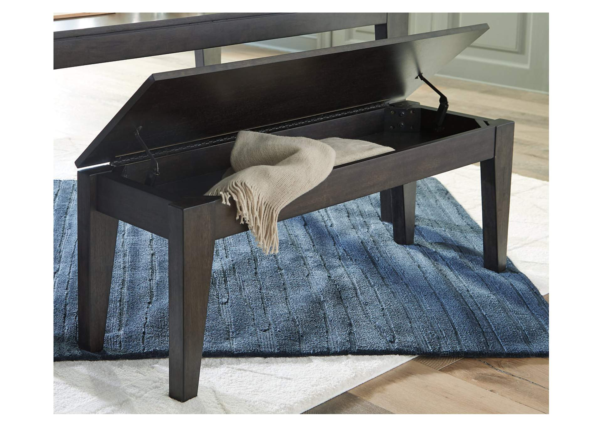Trishcott Dark Brown Dining Room Storage Bench,Ashley