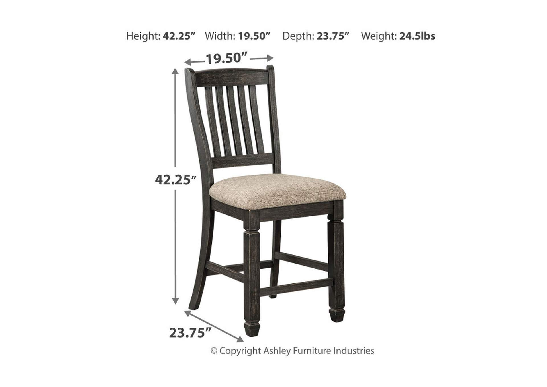 Tyler Creek Black/Grayish Brown Upholstered Barstool (Set of 2),Signature Design By Ashley