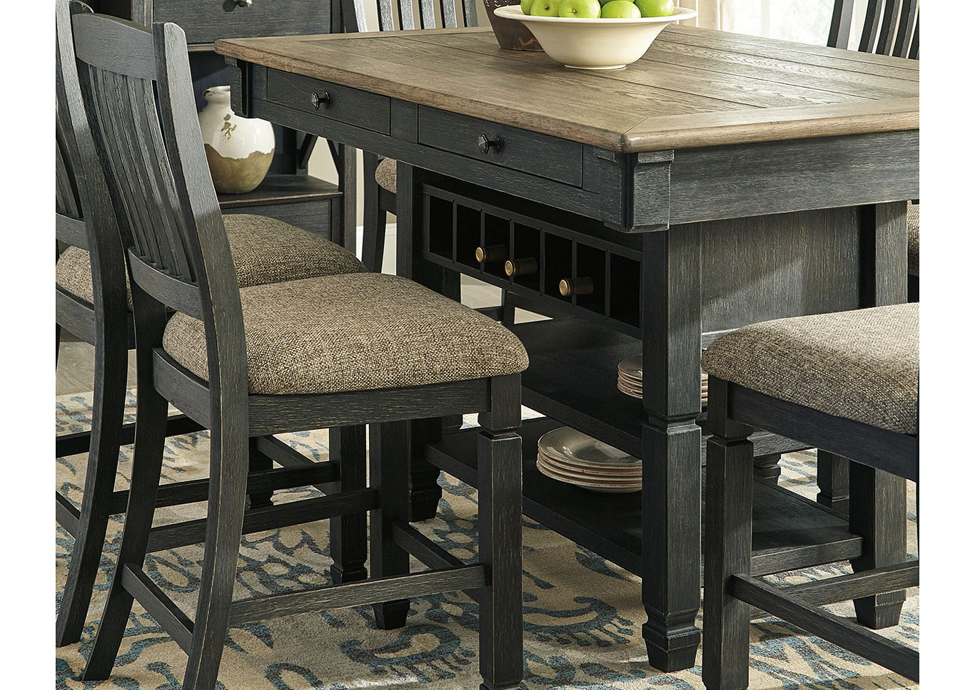 Tyler Creek Black/Grayish Brown Rectangular Dining Room Counter Height Table,Signature Design By Ashley
