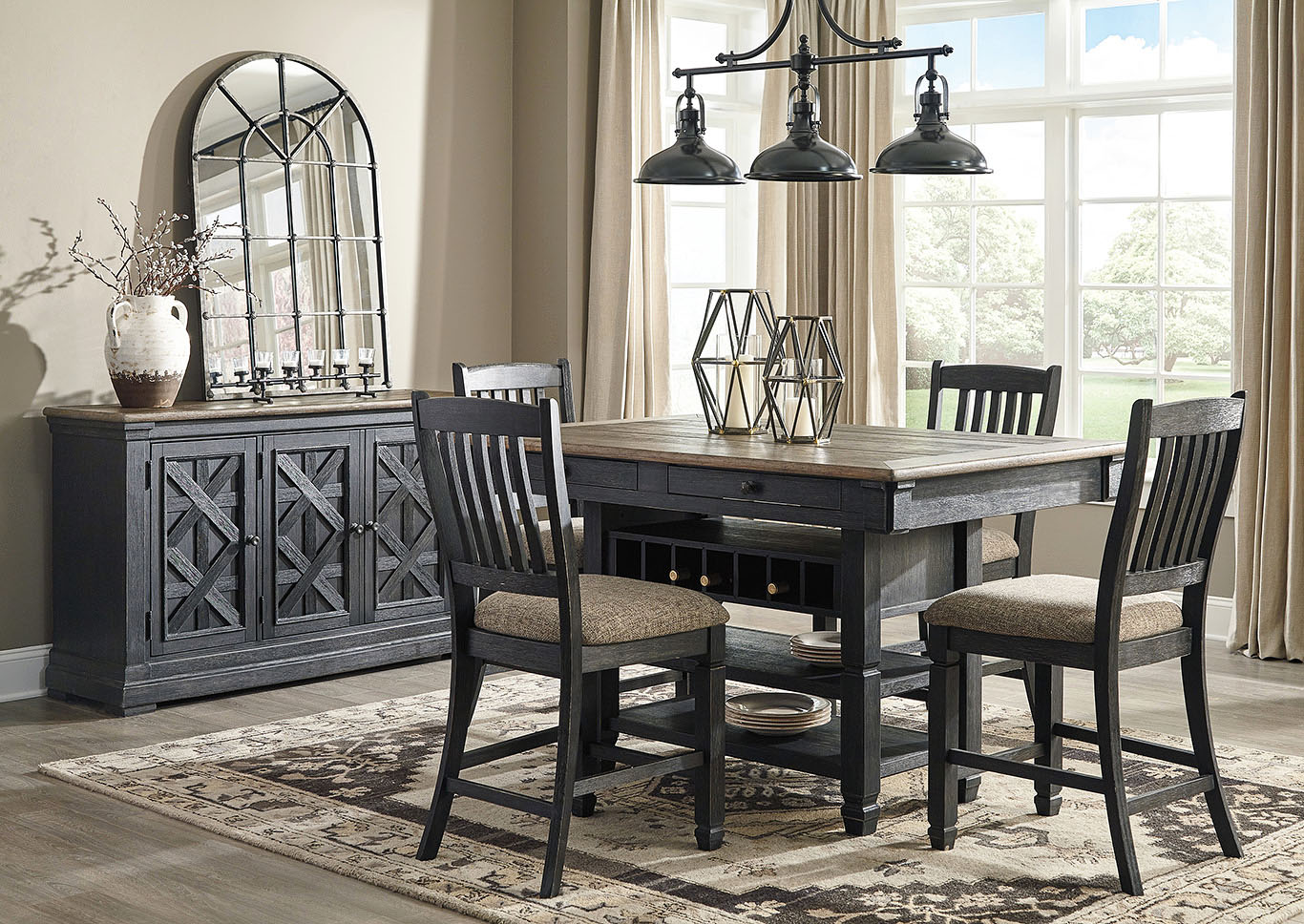 Tyler Creek Black/Grayish Brown 5 Piece Counter Height Dining Set,Signature Design By Ashley