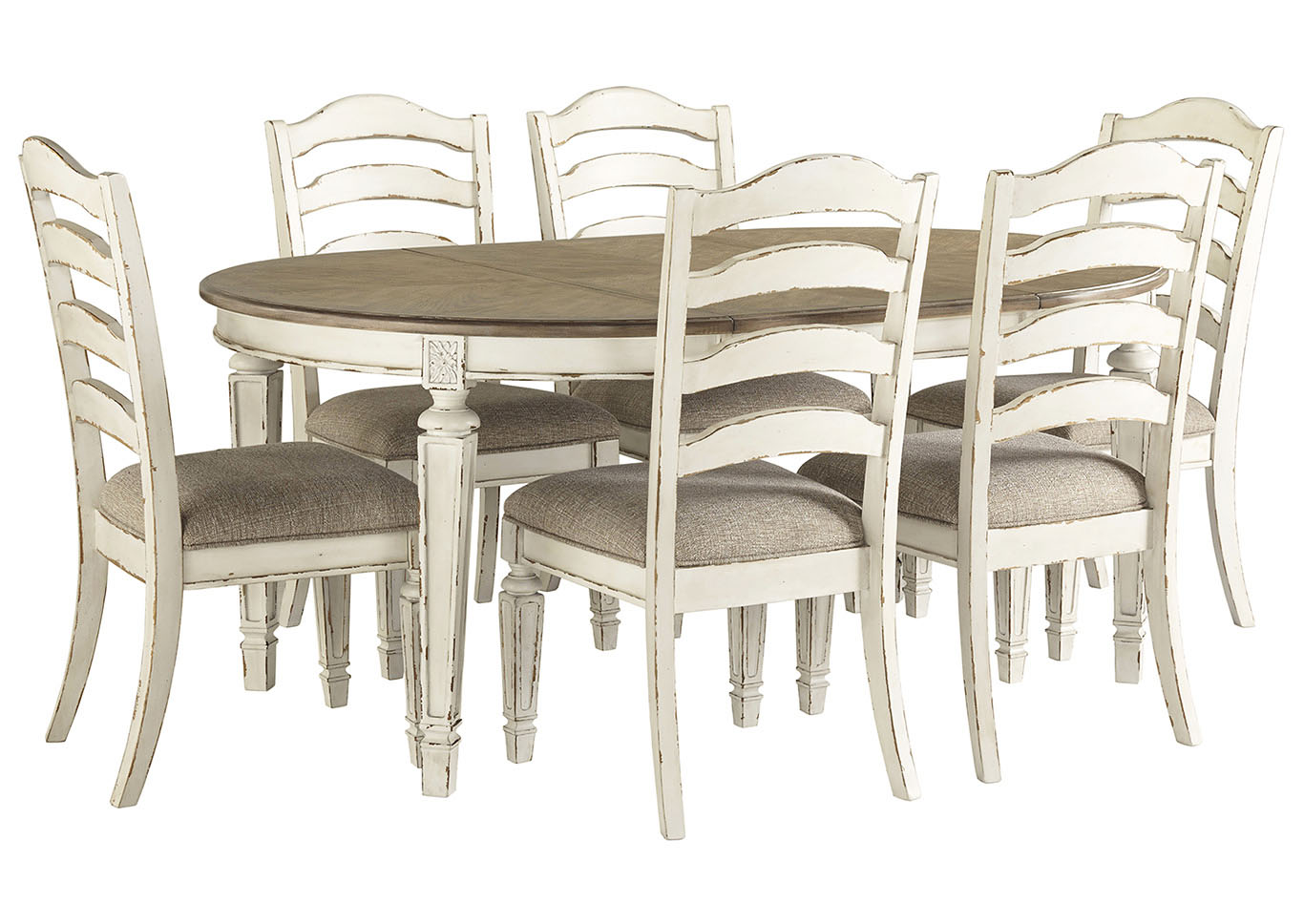 Realyn Chipped White Dining Set w/6 Side Chairs,Signature Design By Ashley