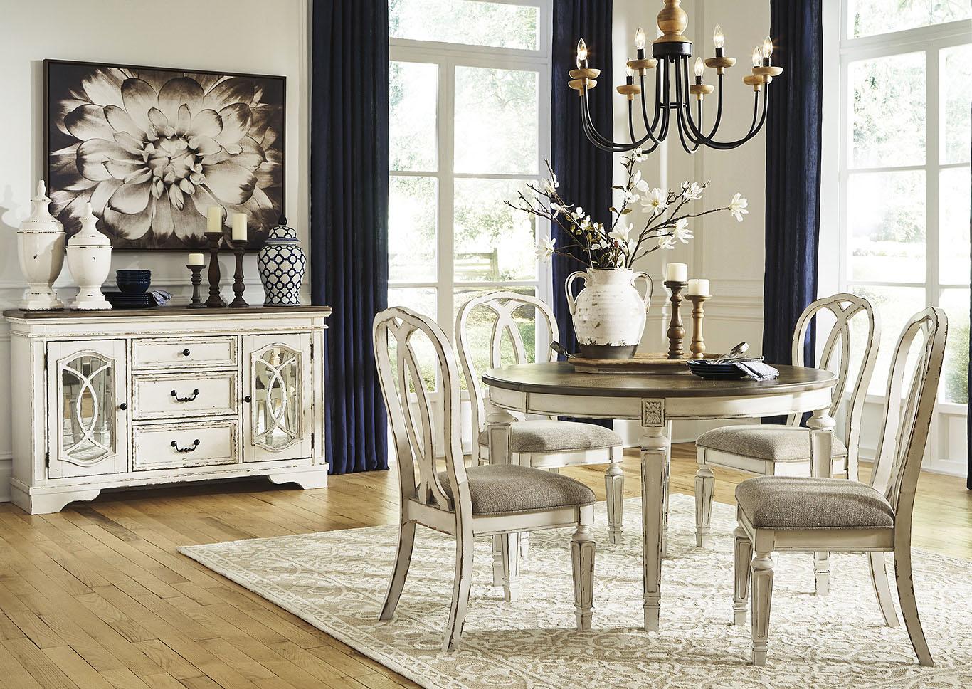 Astounding Ivan Smith Realyn Chipped White Dining Set W 4 Ribbon Back Short Links Chair Design For Home Short Linksinfo
