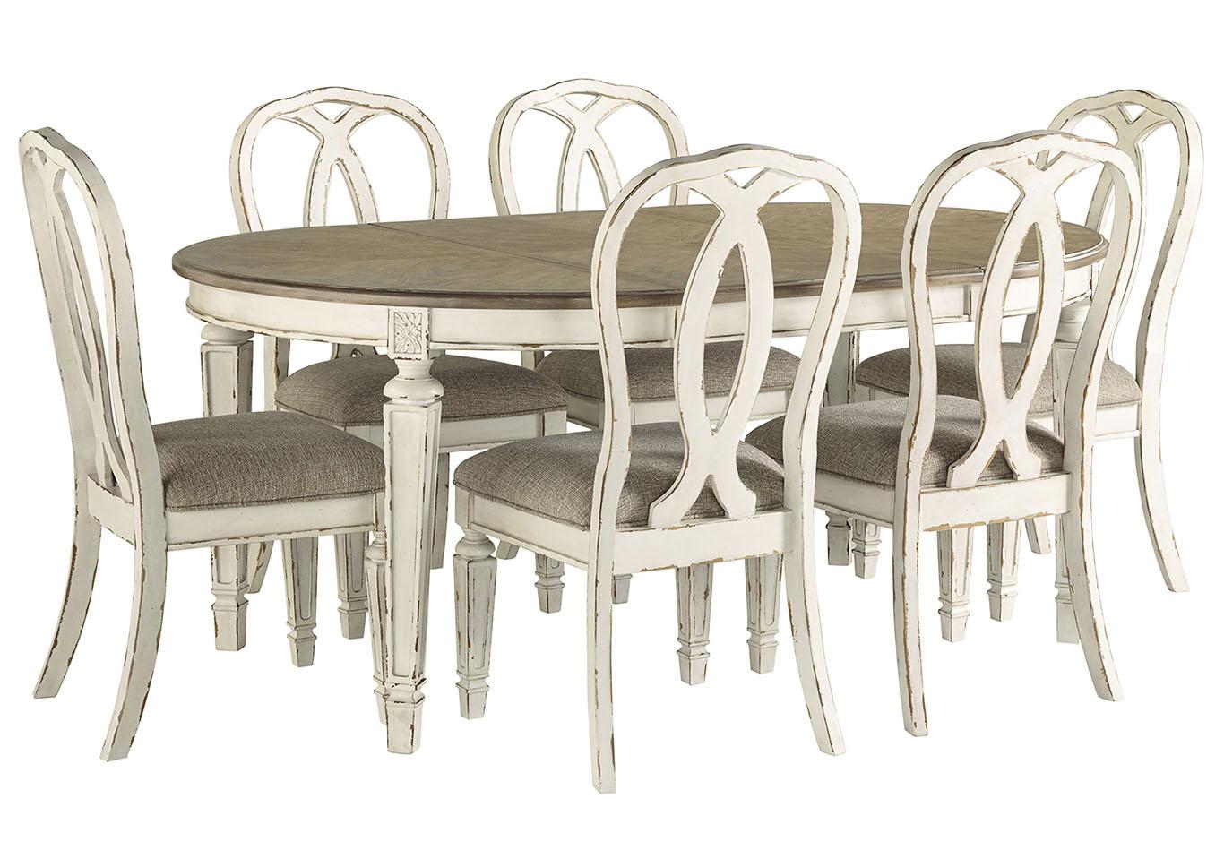 Outstanding Hornell Furniture Outlet Realyn Chipped White Dining Set W 6 Short Links Chair Design For Home Short Linksinfo