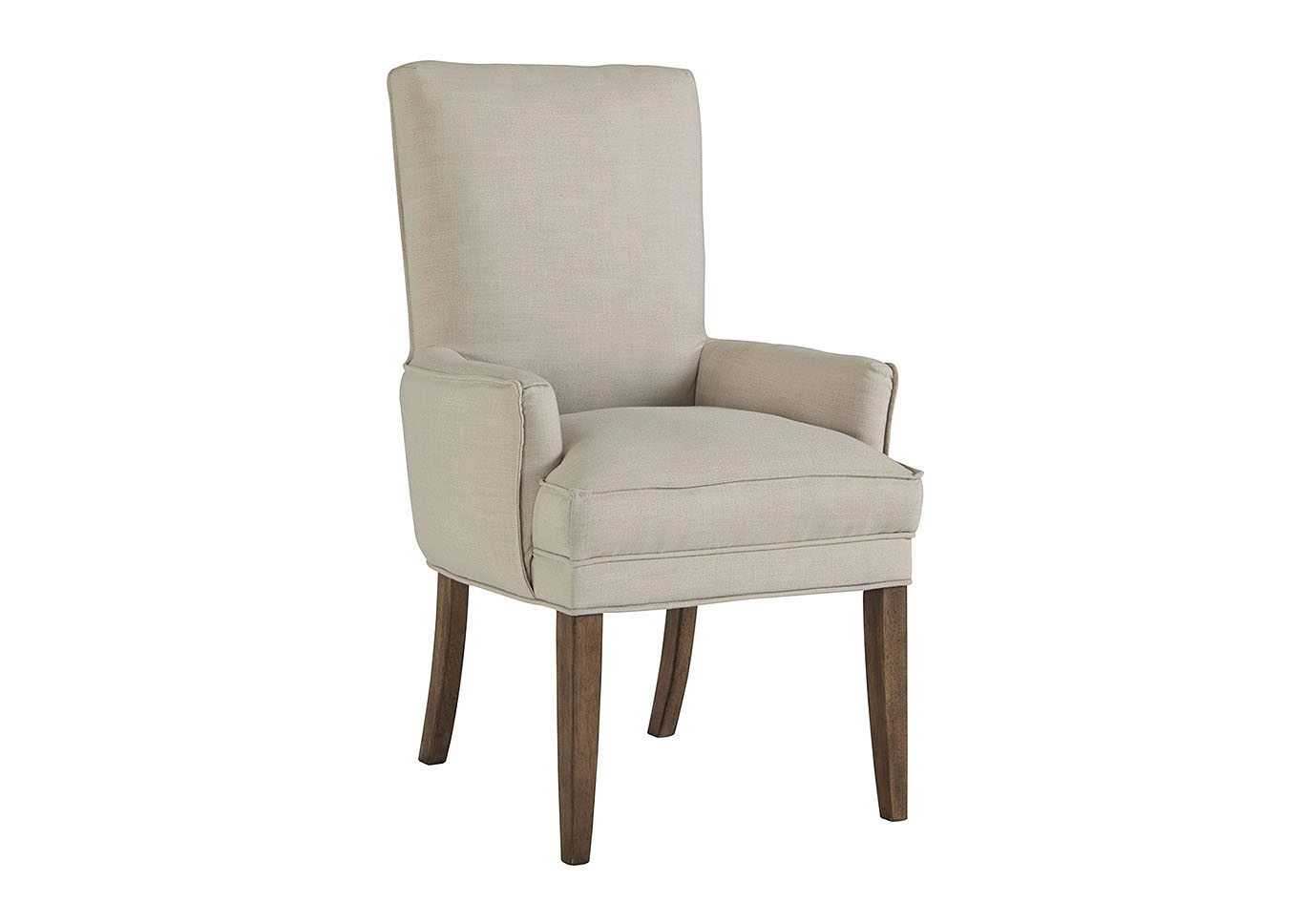 Grindleburg Dark Brown Beige Dining Upholstered Arm Chair Set Of 2Signature