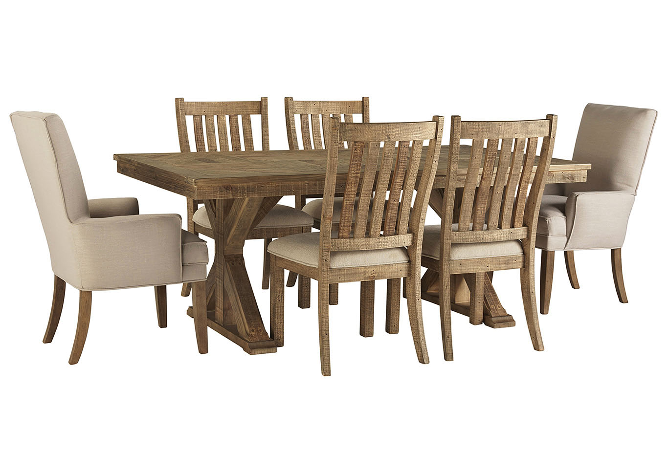 Grindleburg Light Brown Rectangular Dining Table w/4 Brown Side Chairs and 2 Beige Arm Chairs,Signature Design By Ashley