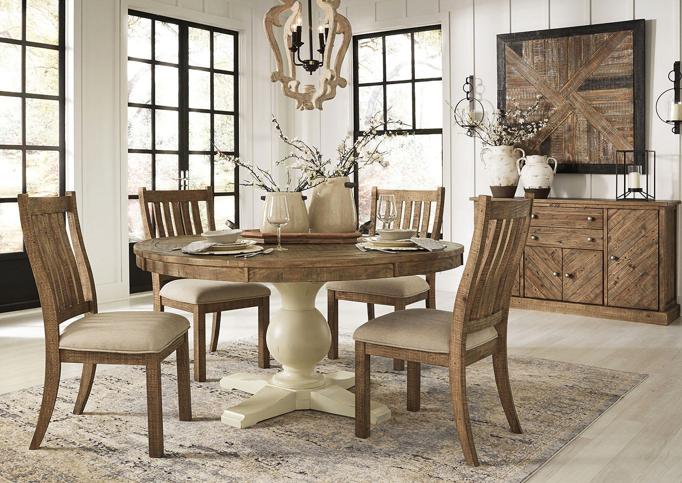 Woodstock Furniture Value Center Grindleburg Round Dining Table W 4